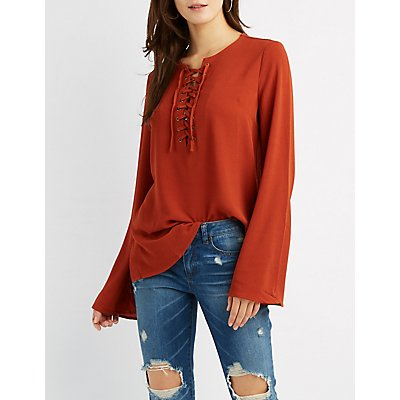 Lace-Up Bell Sleeve Blouse