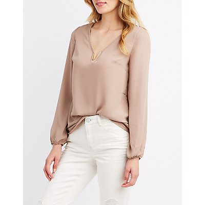 V-Neck Metal Detail Blouse