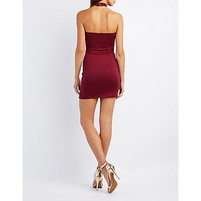 Choker Neck Asymmetrical Grommet-Trim Dress
