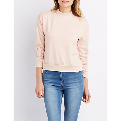 Smile Mock Neck Sweatshirt