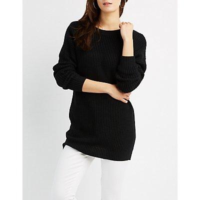 Shaker Stitch Open Back Sweater