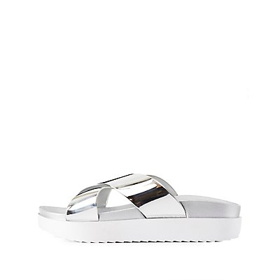 Metallic Flatform Slide Sandals