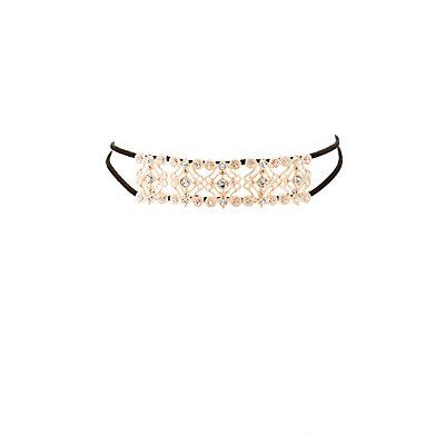 Faux Suede & Embellished Metal Choker Necklace