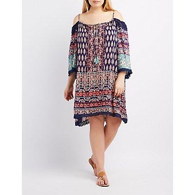 Plus Size Printed Crochet-Trim Cold Shoulder Dress