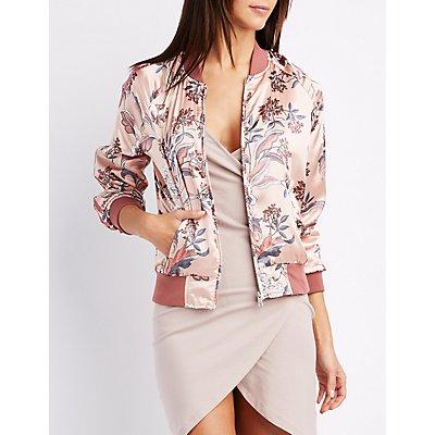 Floral Varsity Stripe Bomber Jacket