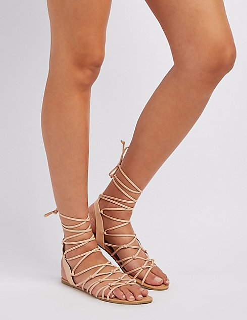 1f7a20abc31 Knotted Lace-Up Sandals