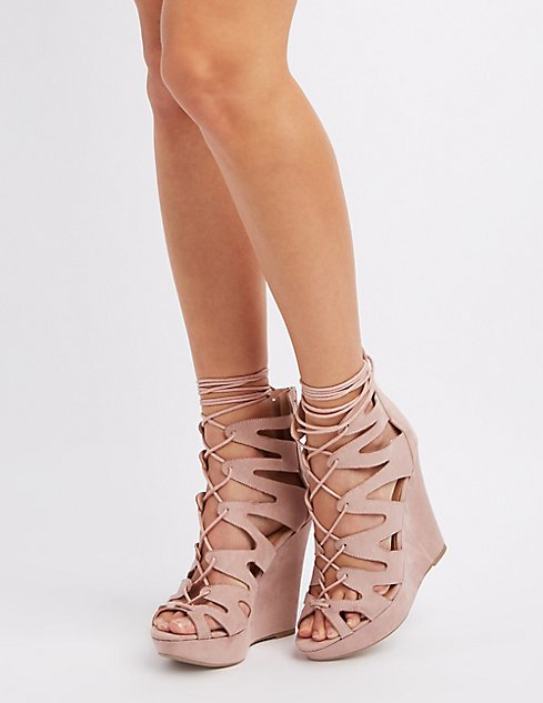 1fb0c4f7112a Images. Caged Lace-Up Wedge Sandals ...