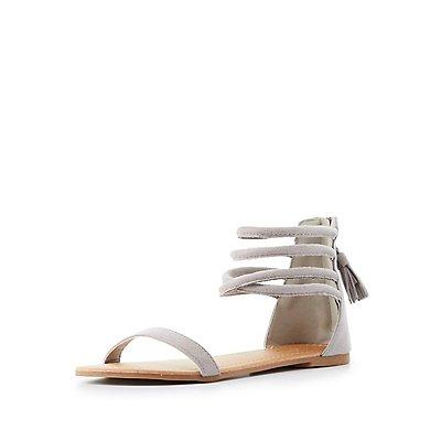 Tubular Tassel-Back Sandals