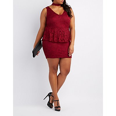Plus Size Lace Mock Neck Peplum Dress