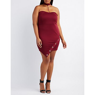 Plus Size Choker Neck Grommet-Trim Dress