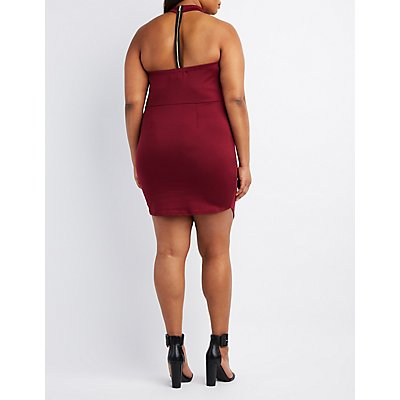 Plus Size Choker Neck Grommet-Trim Dress