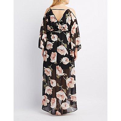 plus size floral cold shoulder maxi dress | charlotte russe