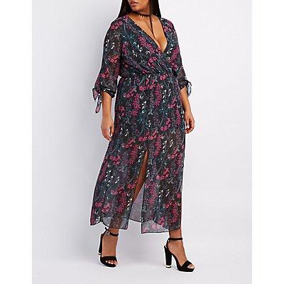 Plus Size Floral V-Neck Maxi Dress
