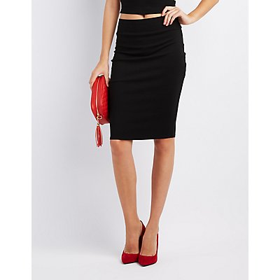 Ponte Knit Pencil Skirt