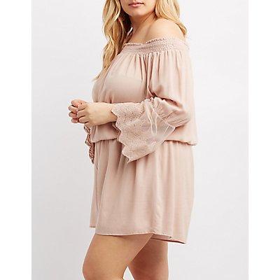 Plus Size Lace-Inset Off-The-Shoulder Romper