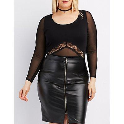 Plus Size Lace & Mesh-Trim Bodysuit