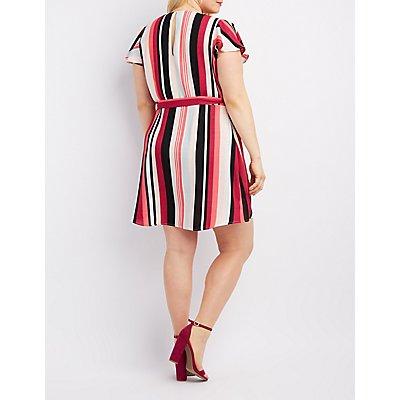 Plus Size Striped Surplice Wrap Dress