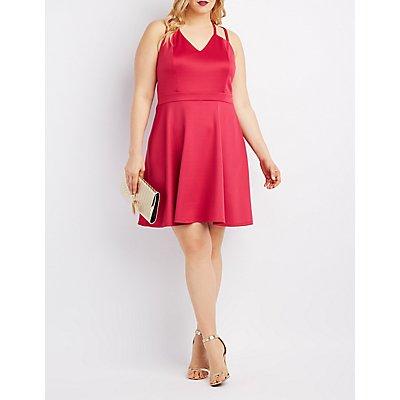 Plus Size Scuba Strappy Skater Dress