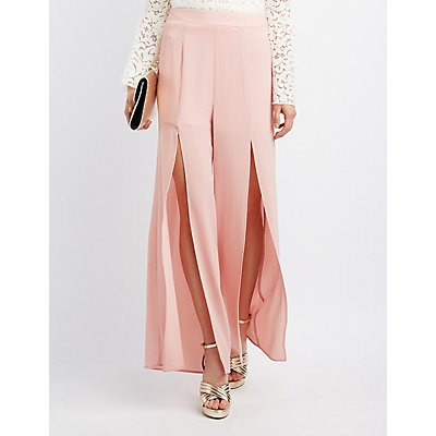 Split Wide-Leg Trousers
