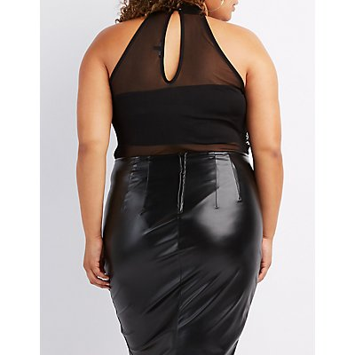 Plus Size Embroidered Sheer Mesh Bodysuit