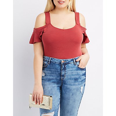 Plus Size Flutter Cold Shoulder Bodysuit