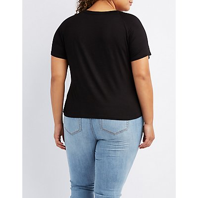 Plus Size Lace-Up V-Neck Tee