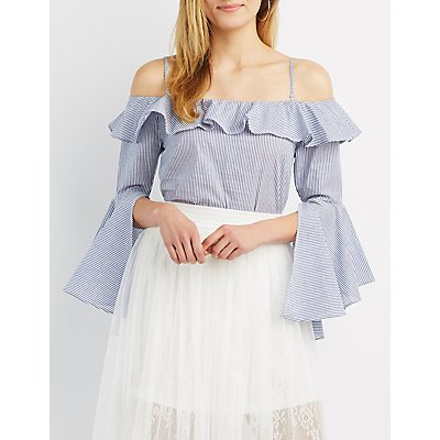 Striped Convertible Cold Shoulder Top