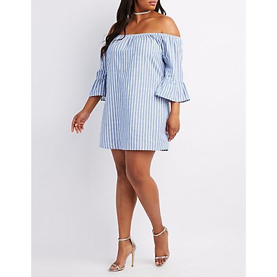 Plus Size Striped Off-The-Shoulder Bell Sleeve Dress