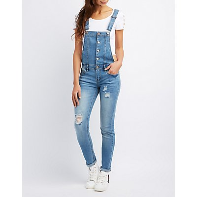 Distressed Button-Up Denim Overalls