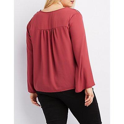 Plus Size Crochet-Inset Lace-Up Blouse