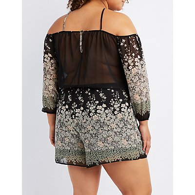 Plus Size Floral Strappy Cold Shoulder Romper