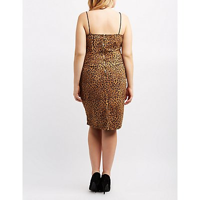 Plus Size Leopard Bodycon Midi Dress
