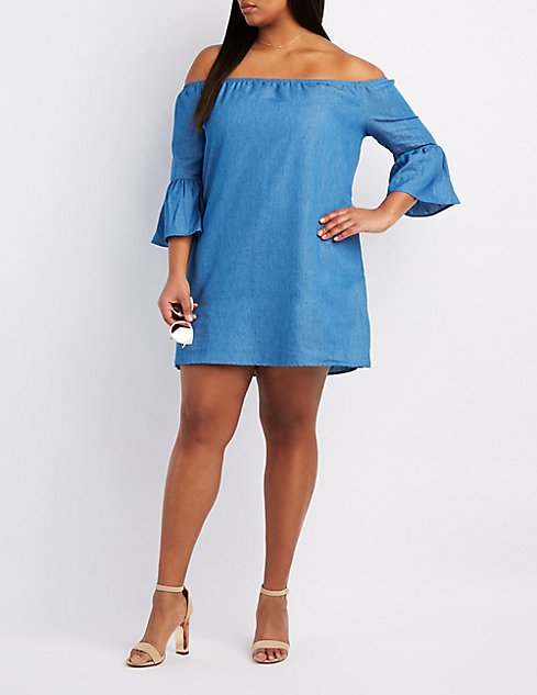 01c97cd3b8d Plus Size Chambray Off-The-Shoulder Dress