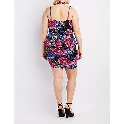 Plus Size Floral Caged Peplum Dress