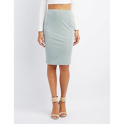 Striped Velvet Pencil Skirt