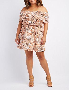 Plus Size Floral Off-The-Shoulder Tied Dress