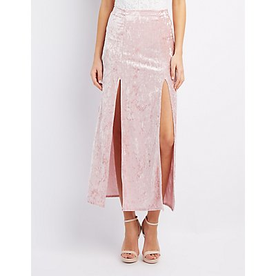 Velvet Double Slit Maxi Skirt
