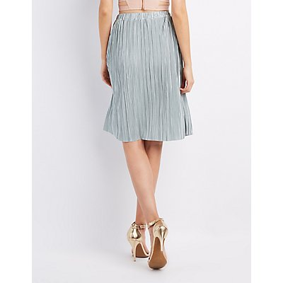 Micro Pleated Midi Skirt