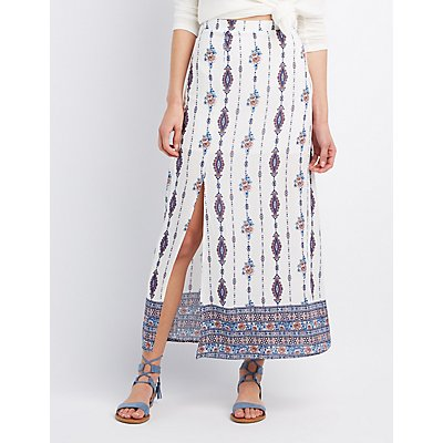 Printed Slit Maxi Skirt