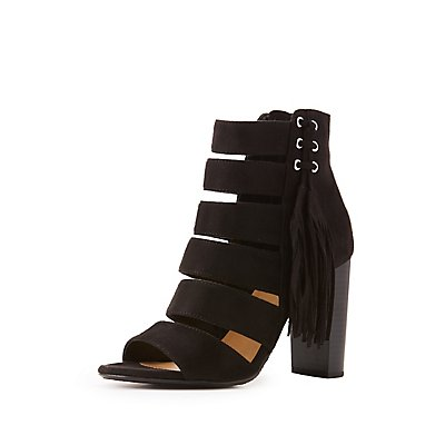 Caged Side-Fringe Sandals