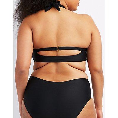 Plus Size Mesh-Trim Halter Bikini Top