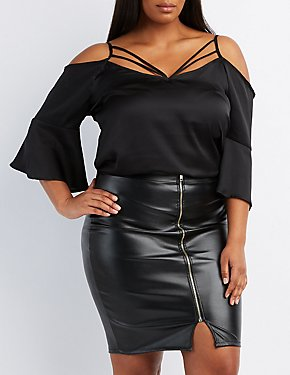 Plus Size Strappy Bell Sleeve Cold Shoulder Top