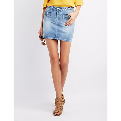 Braided Denim Mini Skirt