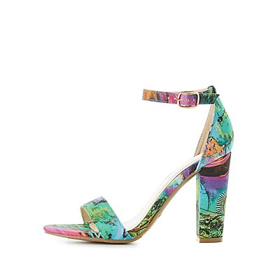 Bamboo Printed Two-Piece Sandals
