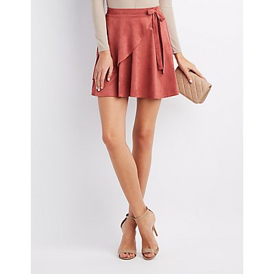 Faux Suede Wrap Skater Skirt