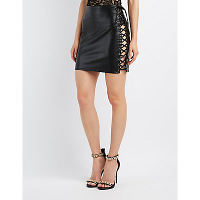Faux Leather Lace-Up Skirt
