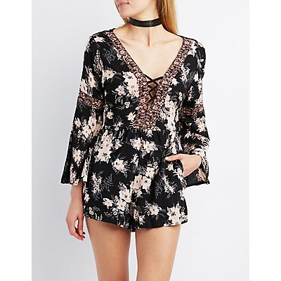 Floral Lattice Bell Sleeve Romper
