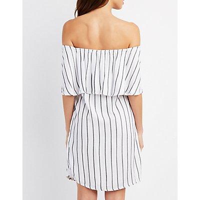 Off-The-Shoulder Button Front Dress