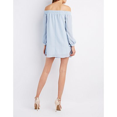 Striped Off-The-Shoulder Tie Sleeve Dress