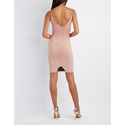 Faux Suede Cut-Out Bodycon Dress
